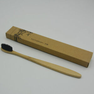 Natural-Bamboo-Handle-Toothbrush-Oral-Care-Eco-friendly-Black-Soft-Bristle-Home