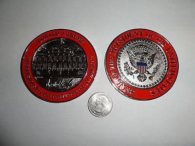 CHALLENGE COIN DONALD TRUMP 45TH PRESIDENT WHITE HOUSE HUGE 3 INCHES SILVER TONE