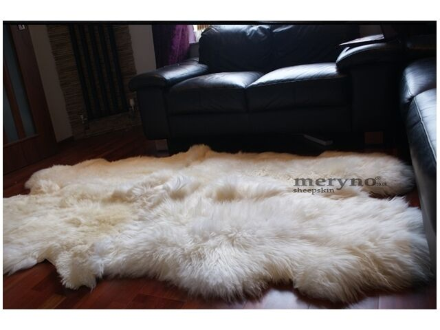 cream quad 4 sheepskin rug soft wool