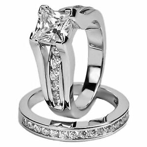 image is loading womens stainless steel princess cut wedding engagement ring - Princess Cut Wedding Ring Set