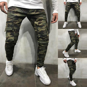 Men-039-s-Casual-Work-Skinny-Jeans-Camo-Army-Harem-Cargo-Denim-Pants-Pencil-Trousers