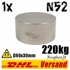 Neodym-Magnet-D60x30mm-6x3cm-220kg-N52-starker-super-runder-Scheibenmagnet