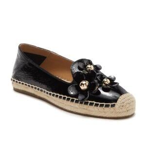 Marc-Jacobs-Black-Leather-Daisy-Flat-Espadrille-Slip-On-Shoes-Womens-NIB