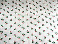 Patchwork coupon tissu coton américain Houx sur fond blanc45 cm x 55 cm NOEL