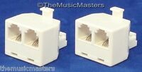 2x Modular Telephone Line Cable Wall Outlet Splitter Double Jack Connector Vwltw