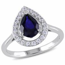 Amour Sterling Silver Pear Created Blue and White Sapphire Halo Engagement Ring