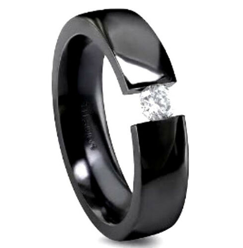 size 8 TITANIUM Black Plated TENSION Highly Polished RING with Round CZ