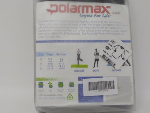 Polarmax Women/'s Travel Lightweight Long Sleeve Black Base Layer Crew Top 1V31N