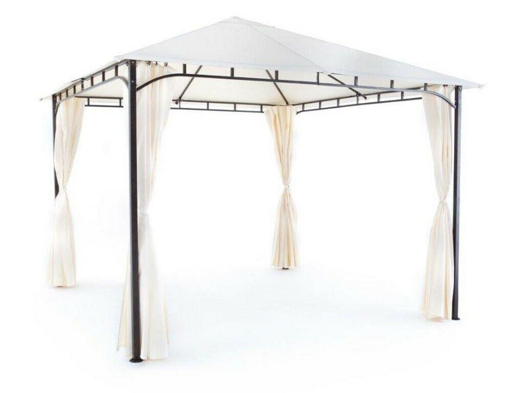 Gazebo Rodi 3x3 MT avec Tentes Latéraux Structure en Fer Bache PVC Ecru de Gi