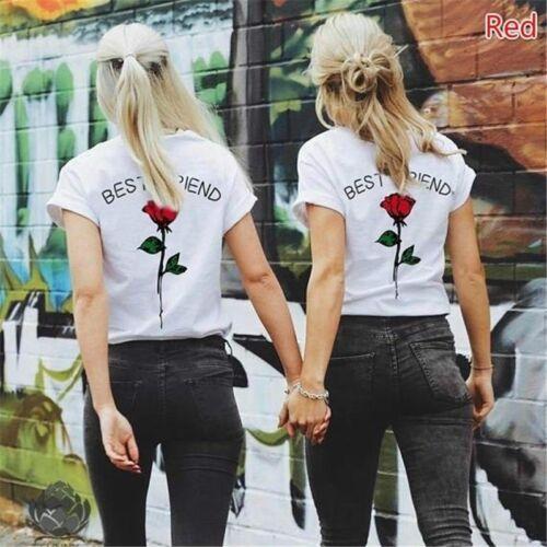 Printed T Shirts Best Friend T-Shirt Women Casual Short Sleeve Tee 8C