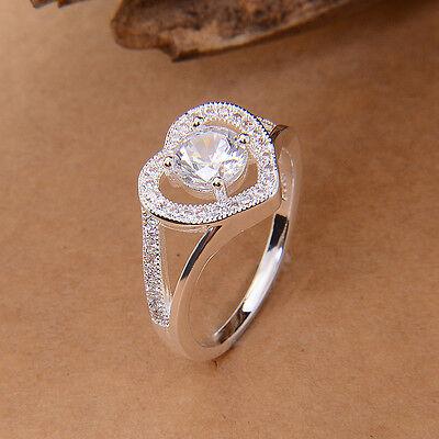 New Women's 925 Silver Crystak Topaz Romantic heart LOVE Wedding Ring sz 6/7/8/9