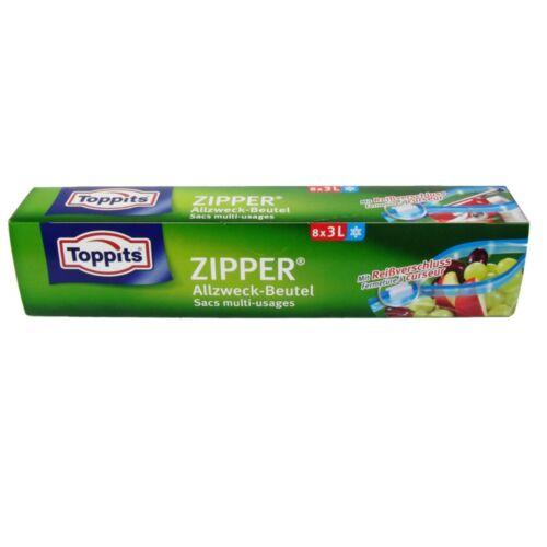 0,46 €//sachet toppits zipper généralistes sachet 3l avec fermeture éclair 8 pièce