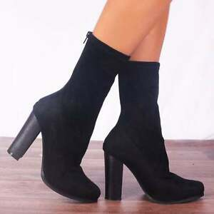 BLACK-LYCRA-SOCK-PULL-ON-ANKLE-BOOTS-BLOCK-HEEL-HIGH-HEELS-SHOES-SIZE-3-4-5-6-7