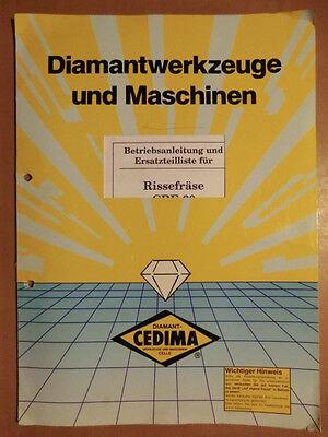 Ersatzteilliste Und Betriebsanleitung Für Cedima Crf-60 Risse-fräse Ausgabe 1993 Anleitungen & Handbücher Literatur