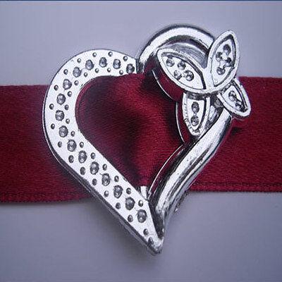 10pc Acrylic Love Heart Buckle Ribbon Slider Scrapbook