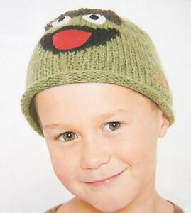 Details About Oscar The Grouch Hat Knit Toddler Baby Scram Green Beanie Costume Sesame Street