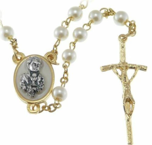 Boys Communion Rosary Beads & Ornate Letherette Box