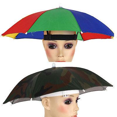 Portable Umbrella Hat Cap Sun Shade Lightweight Camping Fishing Hiking 55cm