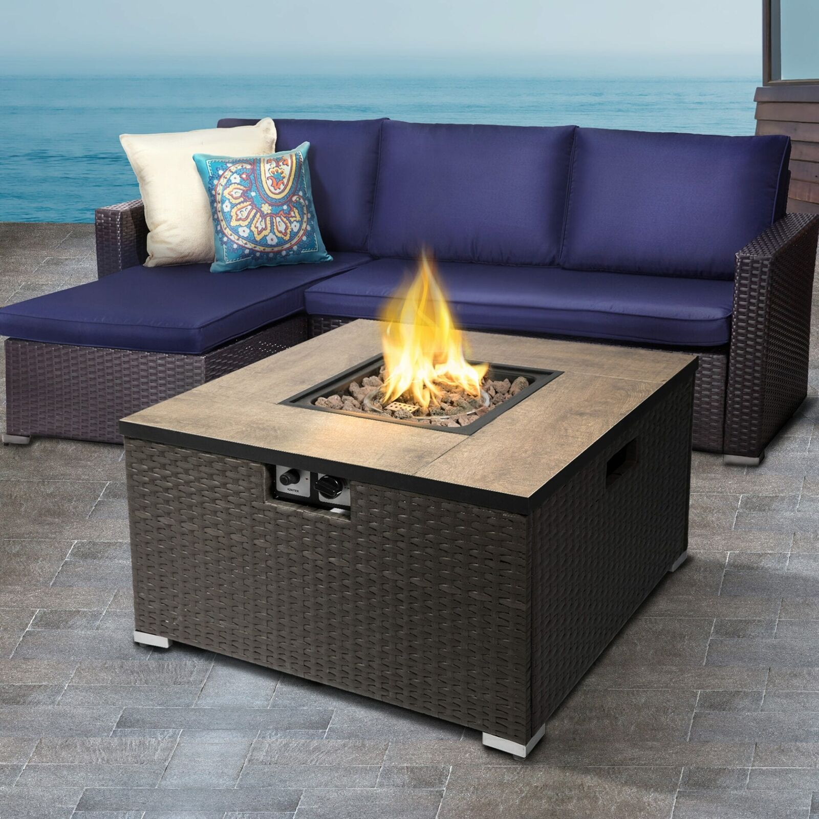 Peaktop Firepit Outdoor Gas Fire Pit Steel With Lava Rock & Cover HF31188AA-UK