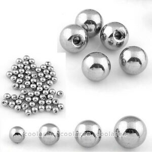 100x Silver Stainless Steel Ball Top Bead Accessory For Body Navel Nose Piercing
