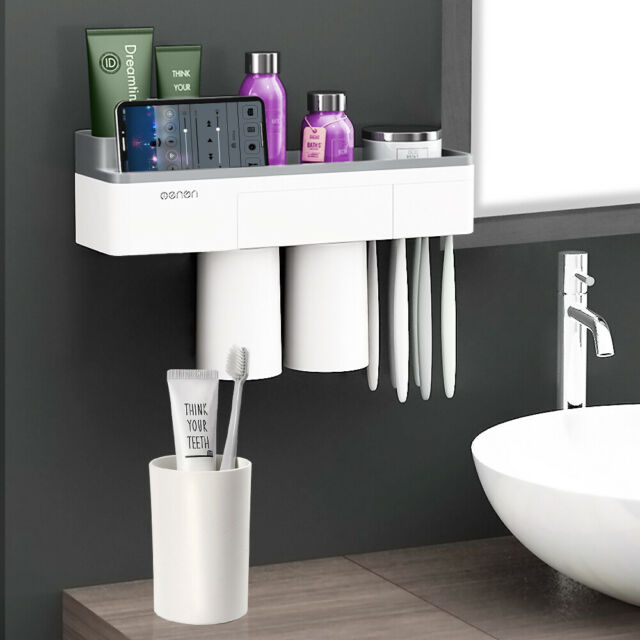 1x Home Bathroom Toothbrush Suction Holder Rack Plastic Wall Mount Hang Stand
