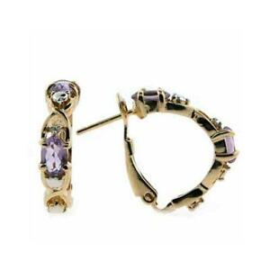 18K-Gold-over-925-Silver-Amethyst-amp-Diamond-Accent-X-amp-O-Earrings