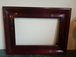 Antique Vintage Dark Cherry Color Wood Thick Picture Frame Holds 7 3/4×11 3/4