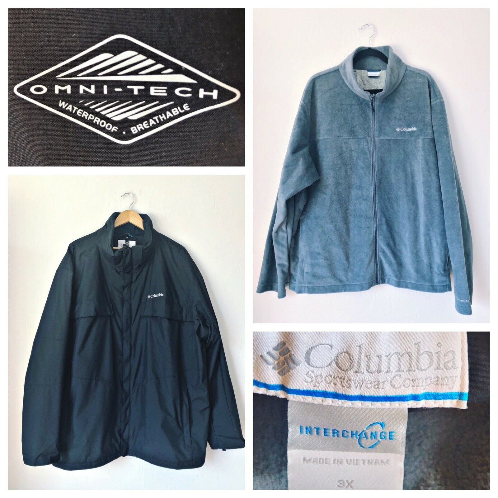 Columbia Omni Tech Interchange Jacket 2 Piece Waterproof Fleece Mens 3xl EUC