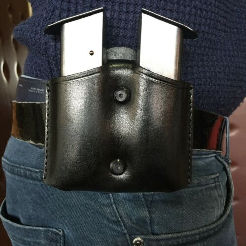 D004 Leather Double Magazine Pouch//Case//Carrier for Colt 1911 Handmade!