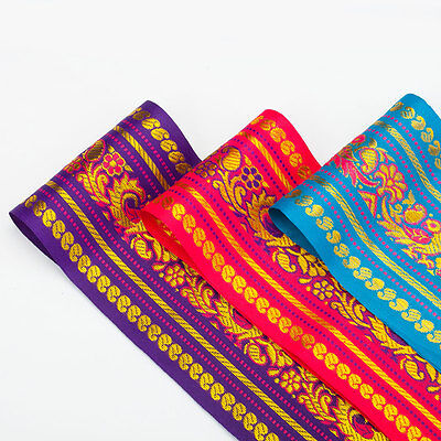 Neotrims Wide India Paisley Peacock Sari Salwar Kameez Craft Ribbon Material 9cm