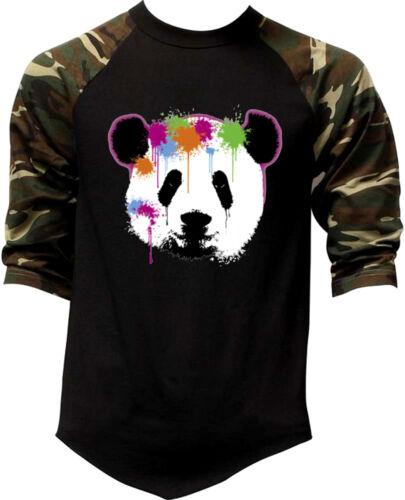 Men/'s Neon Paintball Panda Camo Baseball Raglan T Shirt Rave Party Dance Music