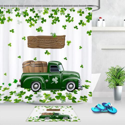 Patrick/'s Day Clover Truck Beer Barrels Shower Curtain Set Bathroom Decor St