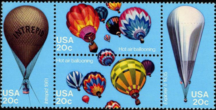 1983 20c Hot Air Ballooning, Block of 4 Scott 2032-35 M