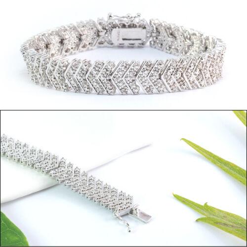 "14k White Gold Filled 1CTW Natural Diamond Chevron S Link Tennis Bracelet 7/""-8/"""