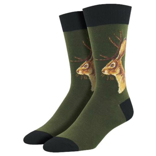Socksmith Men/'s Crew Socks Jackalope Rabbit Wild Horned Bunny Novelty Footwear