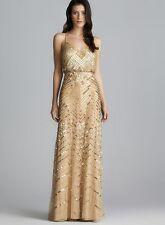 ADRIANNA PAPELL Gold Chevron Beaded Sequin Blouson Gown -NWT Size 16 Retail $340