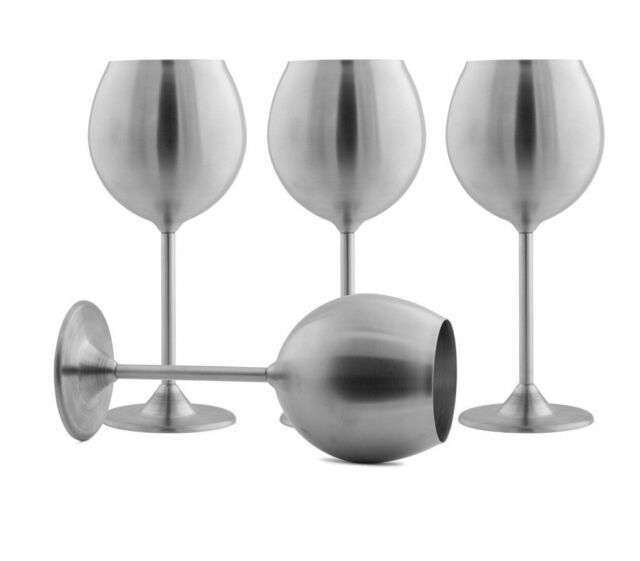 144cf80152d Modern Innovations Stainless Steel Wine Glasses, Set of 4, 12 Oz