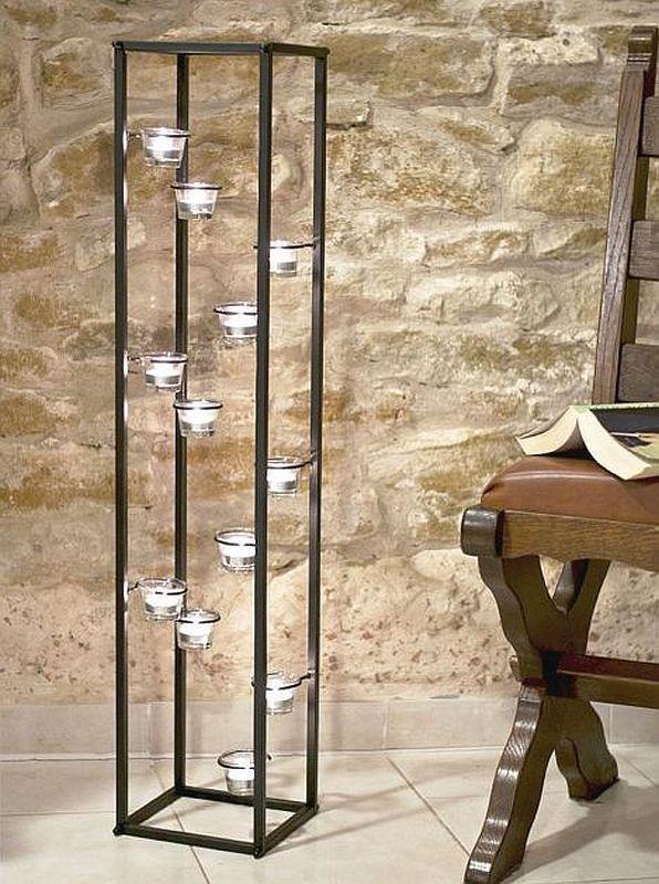 Lichtsäule Teelichthalter 100 cm Kerzenständer für 12 Teelichter 93004