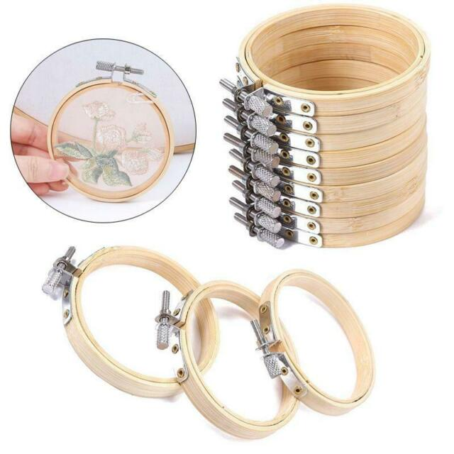 4X Wooden Cross Stitch Embroidery Hoops Ring Bamboo Frame Sewing Craft Tools ZB