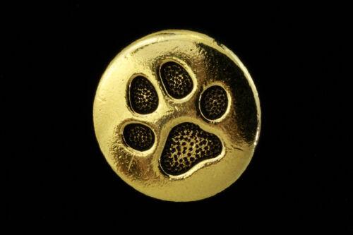 12mm Antique Gold TierraCast Paw Print Button 20 Pcs #CK273