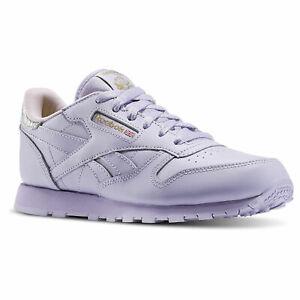 Détails sur REEBOK CL LEATHER ROSE VIOLET Baskets Femme Purple Sneakers BD5543