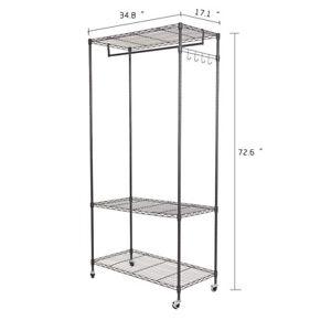 3 tier garment rack hanging clothes rail rolling. Black Bedroom Furniture Sets. Home Design Ideas