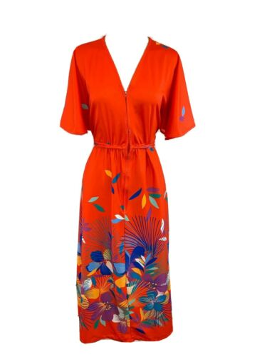 Vintage Kimono Hawaiian Maxi Dress Mu Mu Red Flora