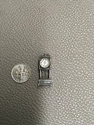 925 Sterling Silver  3D Charm Grandfather Clock