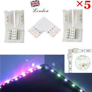 5pcs 5050 LED STRIP LIGHT CORNER CONNECTORS SOLDERLESS L SHAPE 90 DEGREE JOINT