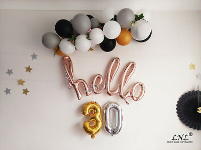 """Happy Birthday Gold Script Letters 30"""" Balloon Birthday Party Decorations"""