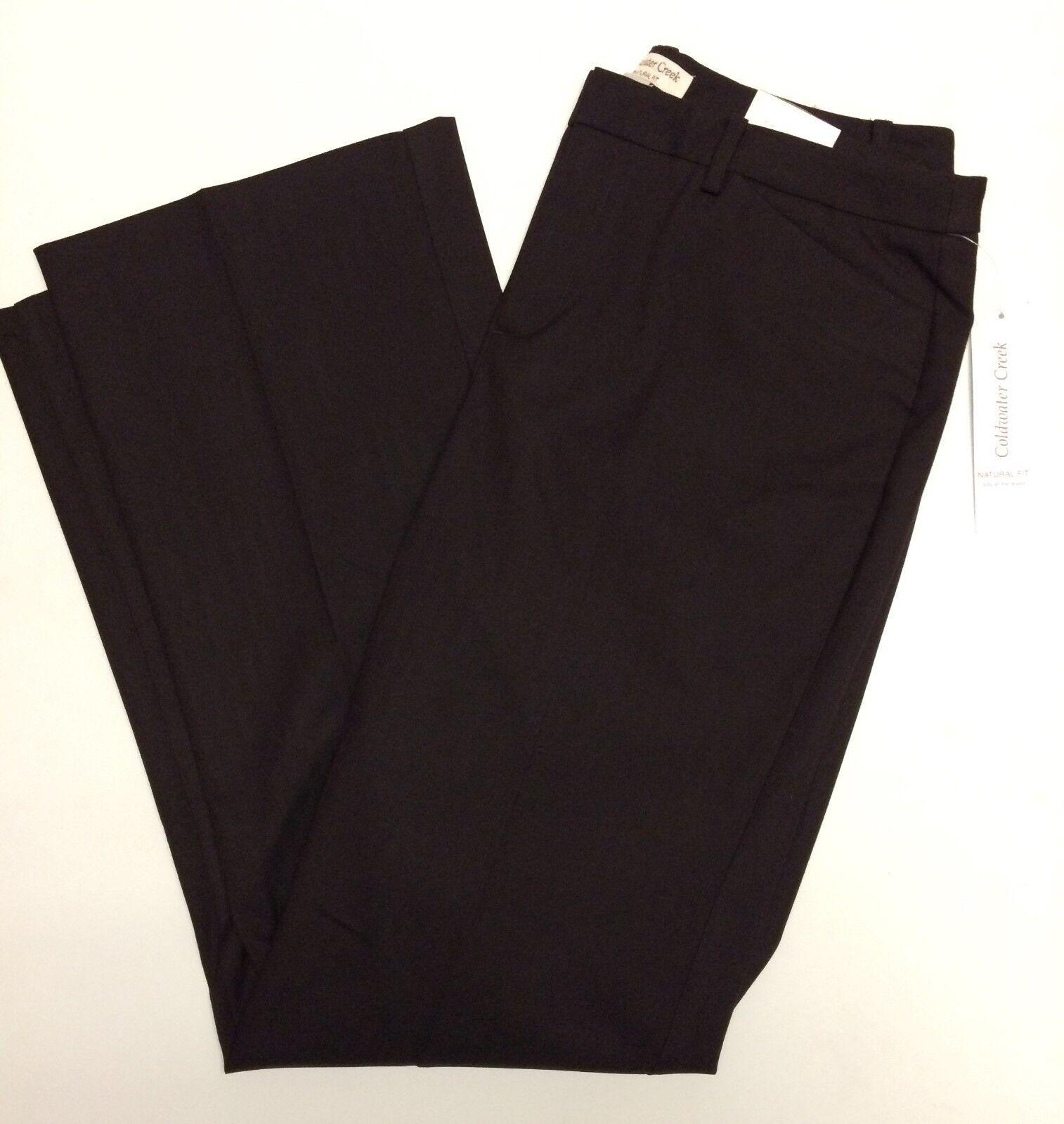 Coldwater Creek 10 Pants Womens Brown Heringbone Trouser Natural Fit Boot Cut