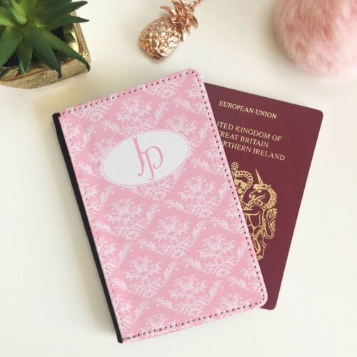 Personalisd Customise Faux Leather Pasport Holder Cover Pink Vintage Monogram