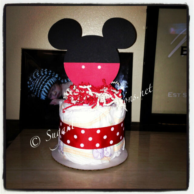 Mickey Mouse Diaper Cake Minis Baby Shower Birthday Centerpieces