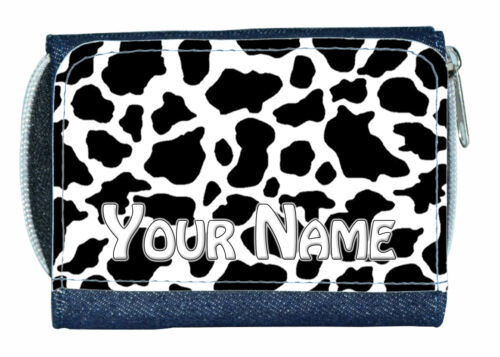 COW PRINT PERSONALISED LADIES//GIRLS DENIM PURSE GREAT NAMED GIFT PRESENT